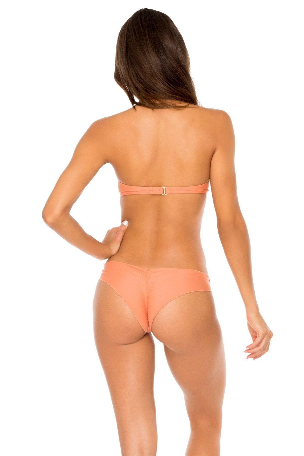 COSITA BUENA - Underwire Push Up Bandeau Top & Seamless Wavey Ruched Back Brazilian Bottom • Azafran