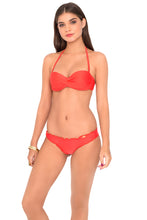 COSITA BUENA - Underwire Push Up Bandeau & Wavey Brazilian Ruched Back Bottom • Luli Red
