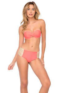 COSITA BUENA - Underwire Push Up Bandeau & Gold Net Sides High Waist Bottom • Gold Fire Coral