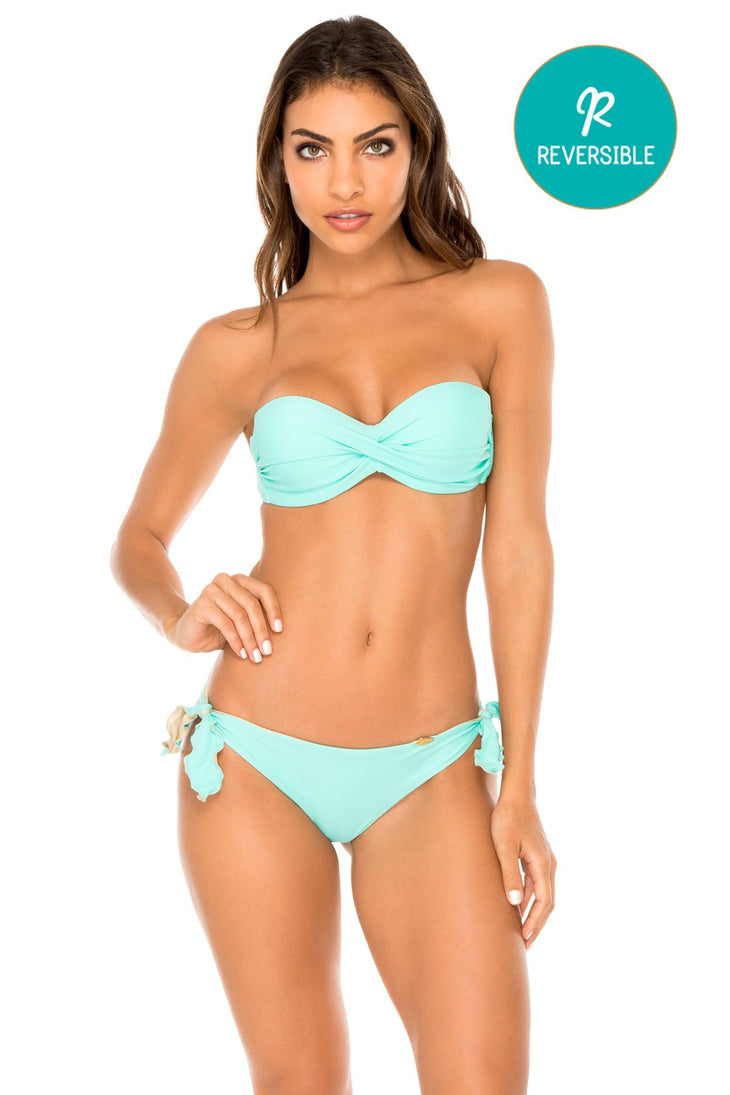 COSITA BUENA - Underwire Push Up Bandeau Top & Cayo Coco Brazilian Bottom • Agua Dulce