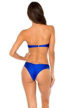 COSITA BUENA - Underwire Push Up Bandeau Top & Drawstring Ruched Brazilian Bottom • Electric Blue
