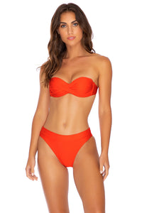 COSITA BUENA - Underwire Push Up Bandeau Top & High Leg Banded Waist Bottom • Sangrita