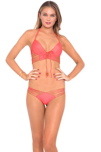 COSITA BUENA - Underwire Corset & Strappy Brazilian Ruched Back Bottom • Fire Coral