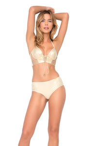 COSITA BUENA - Underwire Corset & Cheeky Tied Up Back Bottom • Gold Rush