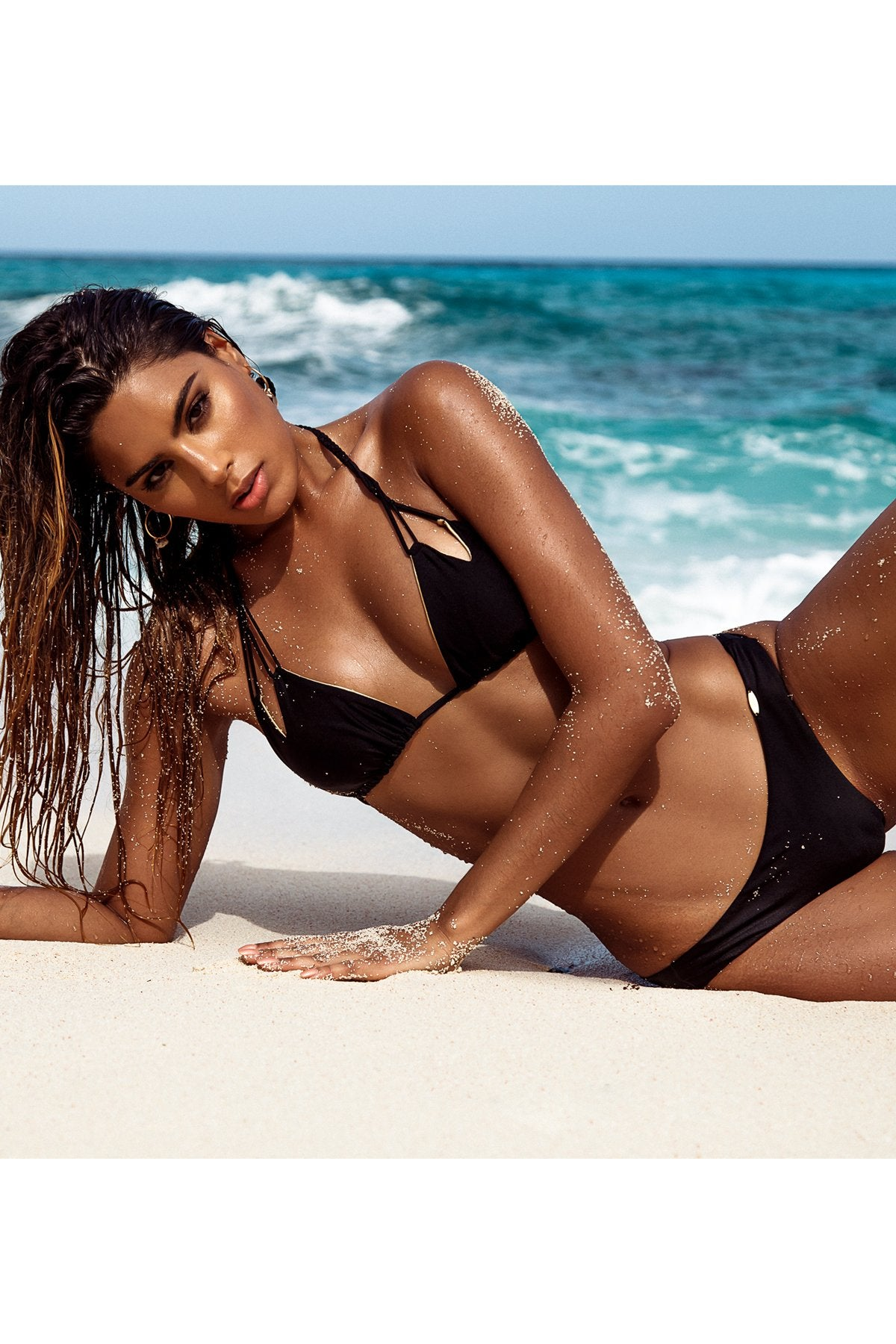 COSITA BUENA - Zig Zag Knotted Cut Out Triangle Top & Seamless Wavey Ruched Back Bottom • Black Campaign