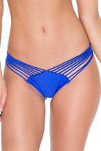COSITA BUENA - Zig Zag Knotted Cut Out Triangle Top & Strappy Brazilian Ruched Back Bottom • Electric Blue