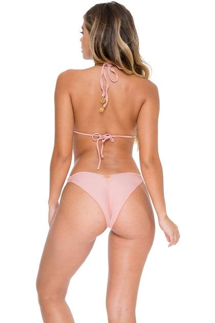COSITA BUENA - Zig Zag Knotted Cut Out Triangle Top & Strappy Brazilian Ruched Back Bottom • Rosa