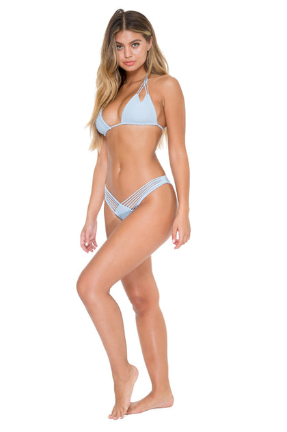 COSITA BUENA - Zig Zag Knotted Cut Out Triangle Top & Strappy Brazilian Ruched Back Bottom • Cielo