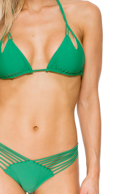 COSITA BUENA - Zig Zag Knotted Cut Out Triangle Top & Strappy Brazilian Ruched Back Bottom • Palma