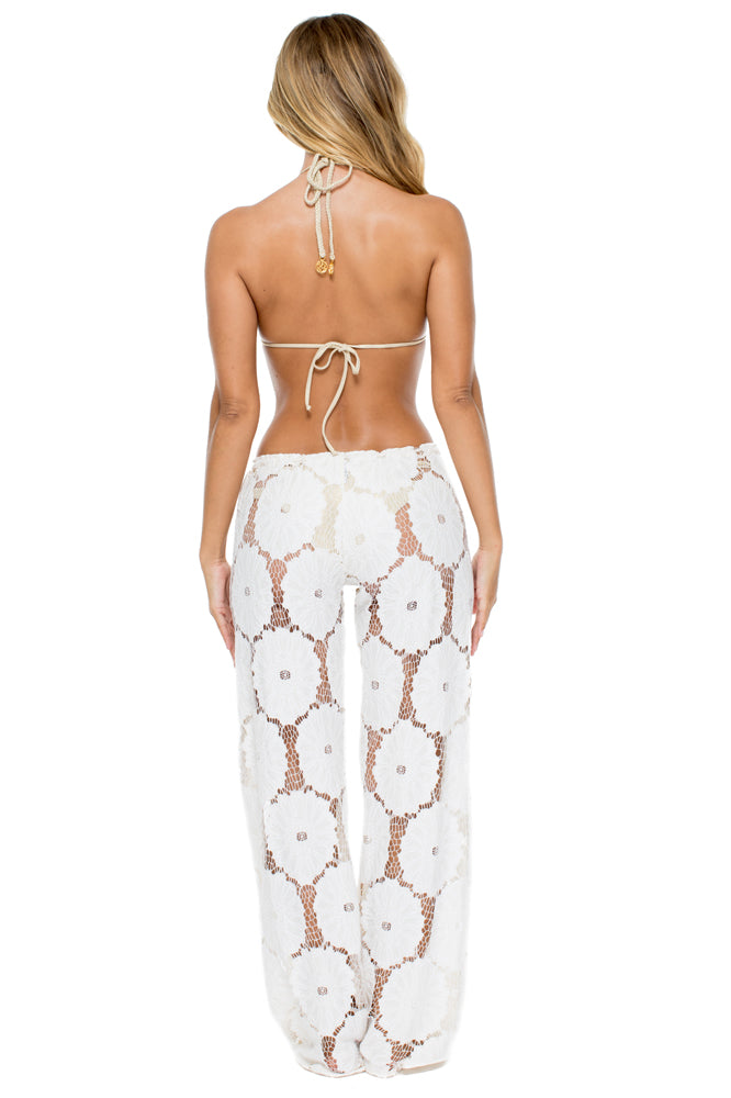 COSITA BUENA - Zig Zag Knotted Cut Out Triangle Top & Beach Pant • Perla