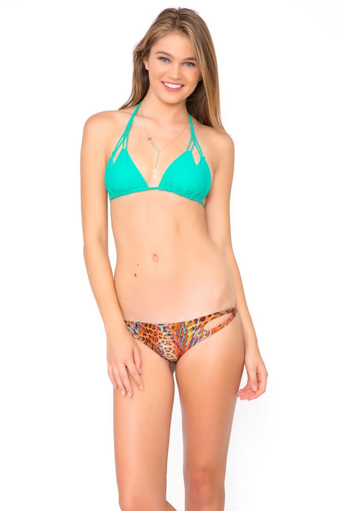 COSITA BUENA - Zig Zag Knotted Cut Out Triangle Top & Crossed Side Band Moderate Bottom • Multicolor