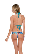 COSITA BUENA - Zig Zag Knotted Cut Out Triangle Top & Buns Out Ink Mesh Reversible Bottom • Multicolor