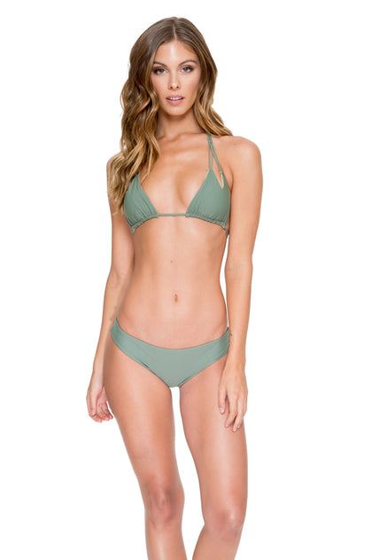 COSITA BUENA - Zig Zag Knotted Cut Out Triangle Top & Seamless Ruched Back Full Bottom • Army