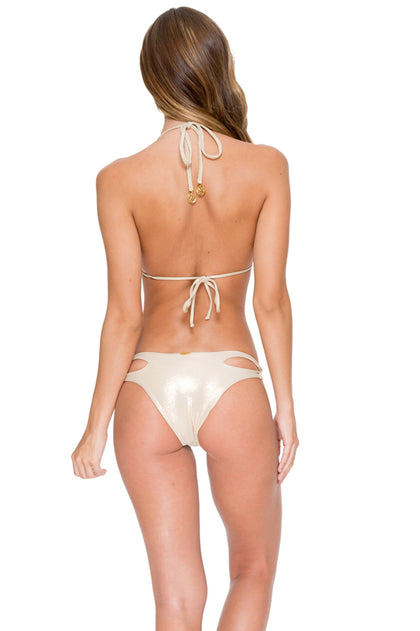 COSITA BUENA - Zig Zag Knotted Cut Out Triangle Top & Reversible Zig Zag Open Side Moderate Bottom • Gold Rush
