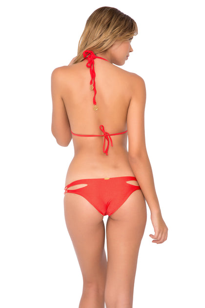 COSITA BUENA - Zig Zag Knotted Cut Out Triangle Top & Reversible Zig Zag Open Side Moderate Bottom • Luli Red