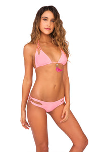 COSITA BUENA - Zig Zag Knotted Cut Out Triangle Top & Reversible Zig Zag Open Side Moderate Bottom • Pink Sunsets