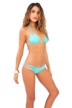 COSITA BUENA - Zig Zag Knotted Cut Out Triangle Top & Reversible Zig Zag Open Side Moderate Bottom • Aquamarine