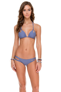 COSITA BUENA - Zig Zag Knotted Cut Out Triangle Top & Reversible Zig Zag Open Side Moderate Bottom • Blue Moon