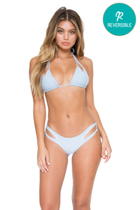 COSITA BUENA - Zig Zag Knotted Cut Out Triangle Top & Reversible Zig Zag Open Side Moderate Bottom • Cielo