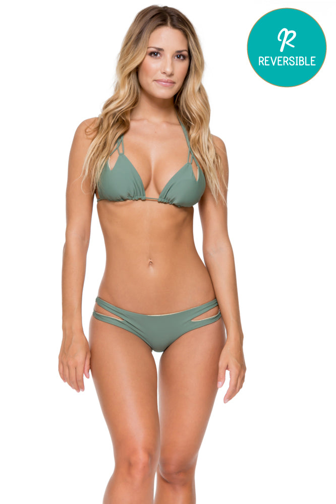 COSITA BUENA - Zig Zag Knotted Cut Out Triangle Top & Reversible Zig Zag Open Side Moderate Bottom • Army
