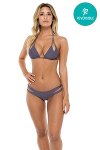COSITA BUENA - Zig Zag Knotted Cut Out Triangle Top & Reversible Zig Zag Open Side Moderate Bottom • Piedra Gris