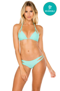 COSITA BUENA - Zig Zag Knotted Cut Out Triangle Top & Reversible Zig Zag Open Side Moderate Bottom • Agua Dulce