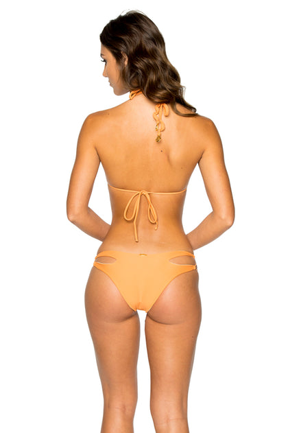 COSITA BUENA - Zig Zag Knotted Cut Out Triangle Top & Reversible Zig Zag Open Side Moderate Bottom • Melon
