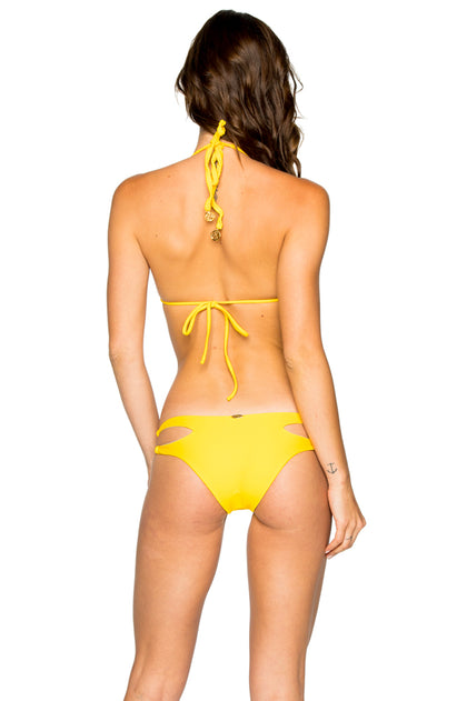 COSITA BUENA - Zig Zag Knotted Cut Out Triangle Top & Reversible Zig Zag Open Side Moderate Bottom • Limon