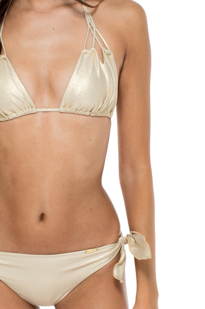 COSITA BUENA - Zig Zag Knotted Cut Out Triangle Top & Cayo Coco Brazilian Bottom • Gold Rush
