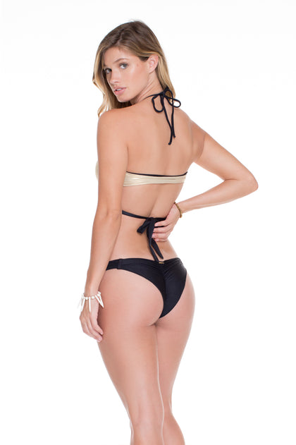 COSITA BUENA - Reversible Cross Over Halter & Strappy Brazilian Ruched Back Bottom • Black