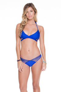 COSITA BUENA - Reversible Cross Over Halter & Strappy Brazilian Ruched Back Bottom • Electric Blue