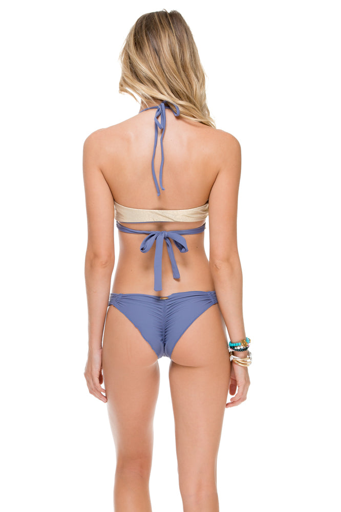 COSITA BUENA - Reversible Cross Over Halter & Strappy Brazilian Ruched Back Bottom • Blue Moon