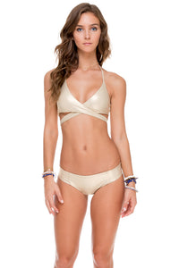 COSITA BUENA - Reversible Cross Over Halter & Side Tab Seamless Full Bottom • Gold Rush