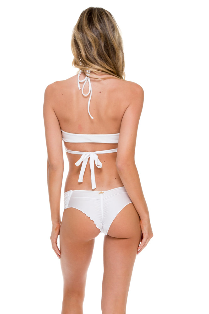 COSITA BUENA - Reversible Cross Over Halter & Scrunch Panty Ruched Back • White