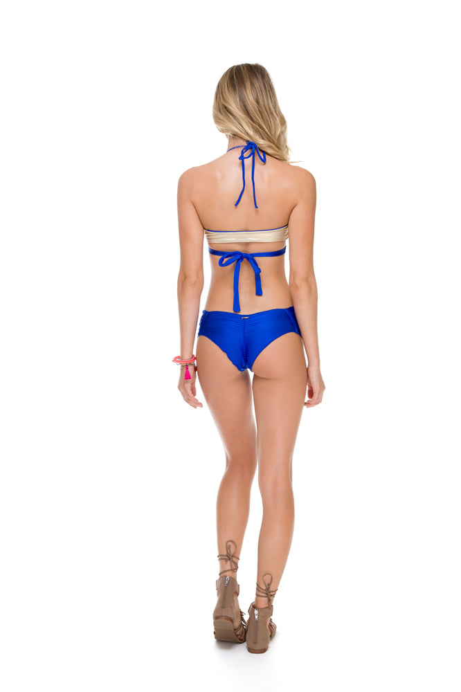 COSITA BUENA - Reversible Cross Over Halter & Scrunch Panty Ruched Back • Electric Blue
