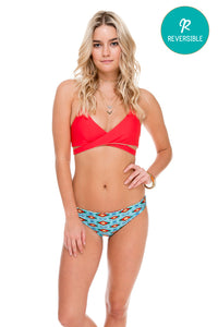 COSITA BUENA - Reversible Cross Over Halter & Peek Hole Reversible Moderate Bottom • Multicolor