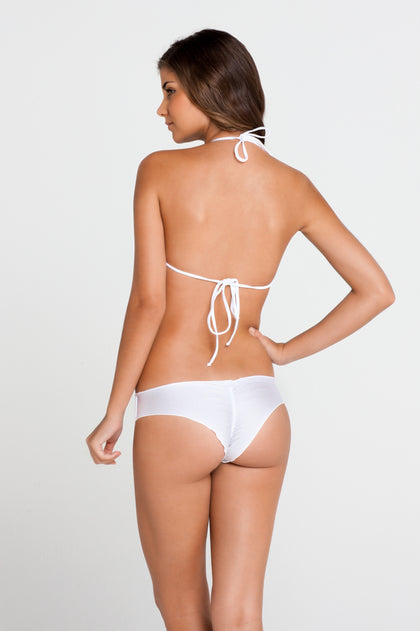 COSITA BUENA - Fringe Scoop Halter Top & Wavey Brazilian Ruched Back Bottom • White
