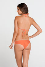 COSITA BUENA - Fringe Scoop Halter Top & Wavey Brazilian Ruched Back Bottom • Beachy Coral