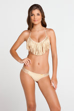 COSITA BUENA - Fringe Scoop Halter Top & Multi Strap Ruched Brazilian • Gold Rush