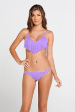 COSITA BUENA - Fringe Scoop Halter Top & Multi Strap Ruched Brazilian • Jellybean Purple