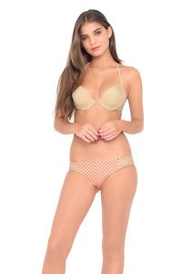 COSITA BUENA - Seamless Plunge Underwire Push Up Top & Full Bottom • Gold Fire Coral