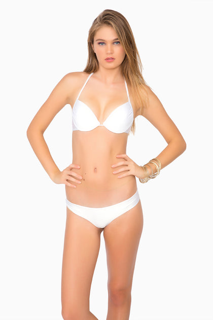 COSITA BUENA - Seamless Plunge Underwire Push Up Top & Reversible Buns Out Bottom • White