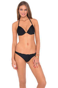 COSITA BUENA - Seamless Plunge Underwire Push Up Top & Drawstring Back Scrunch Bottom • Black