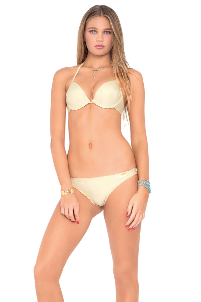 COSITA BUENA - Seamless Plunge Underwire Push Up Top & Drawstring Back Scrunch Bottom • Gold Rush (892557557804)