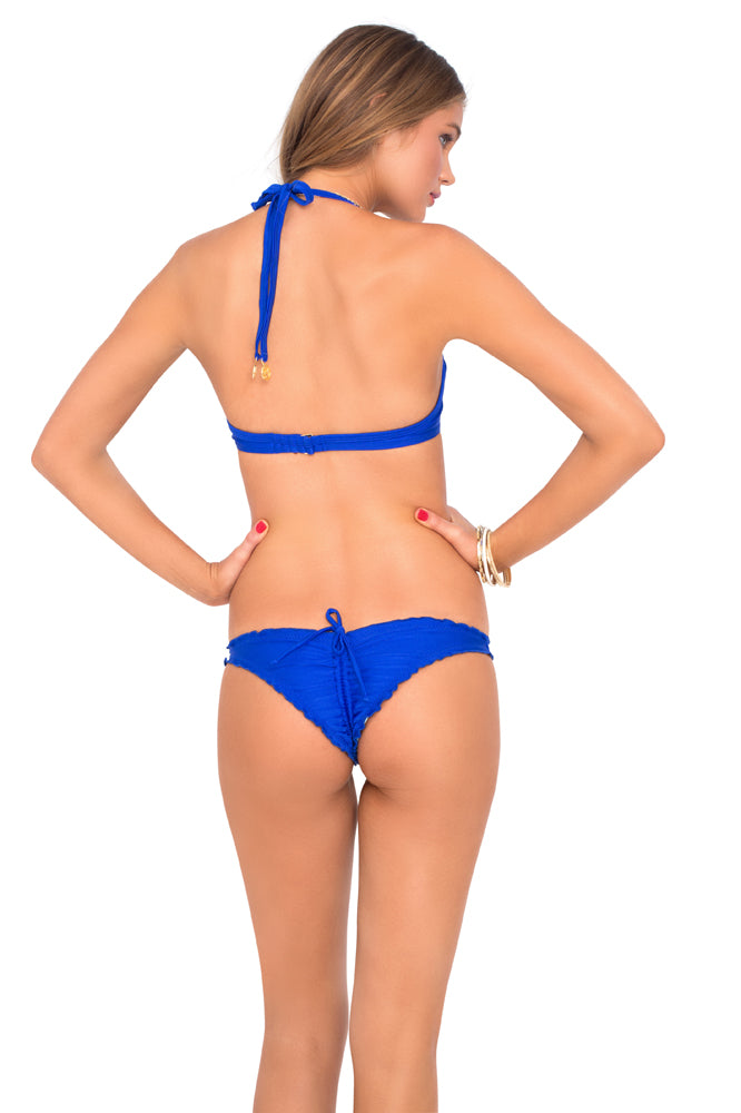 COSITA BUENA - Seamless Plunge Underwire Push Up Top & Drawstring Back Scrunch Bottom • Electric Blue