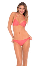 COSITA BUENA - Seamless Plunge Underwire Push Up Top & Drawstring Back Scrunch Bottom • Fire Coral