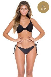 COSITA BUENA - Underwire Adjustable Top & Wavey Full Tie Side Ruched Back • Black (892557393964)