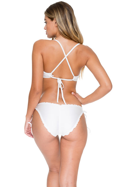 COSITA BUENA - Underwire Adjustable Top & Wavey Full Tie Side Ruched Back • White