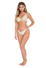 COSITA BUENA - Underwire Adjustable Top & Wavey Full Tie Side Ruched Back • Gold Rush