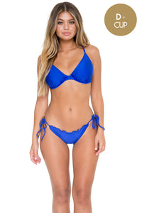 COSITA BUENA - Underwire Adjustable Top & Wavey Full Tie Side Ruched Back • Electric Blue